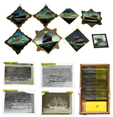 Lot 3034 - Glass Painted Pictures Of Ships 2xSS Braemar Castle, SS Britannic, 2xLusitania, 2xMauretania...