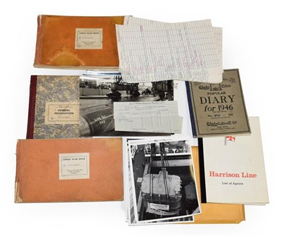 Lot 3035 - Harrison Line Group consisting of various paperwork including some ships blueprints, trainee record