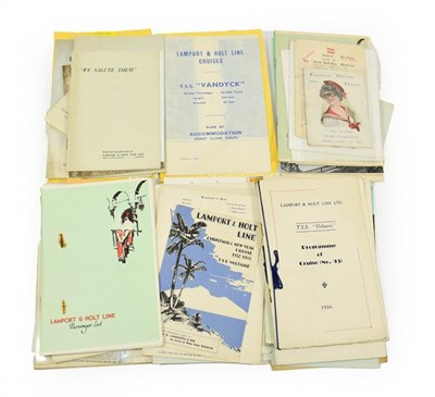Lot 3036 - Lamport & Holt Line Paperwork TSS Voltaire: Birthday dinner 1923, Race card 1937, Embarkation...
