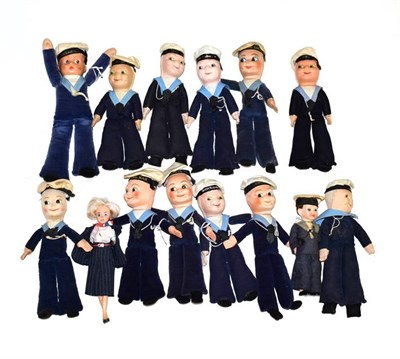 Lot 3040 - Norah Wellings Sailor Dolls a collection of 11 examples together with two celluloid dolls (one...