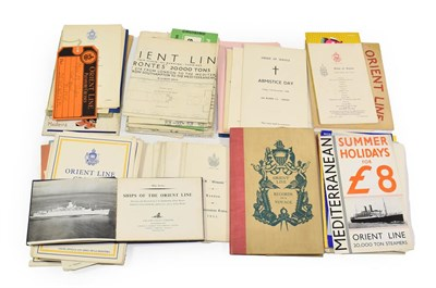Lot 3042 - Orient Line Paperwork including Ships of the Orient Line, A Voyage to Australia, Timetable...