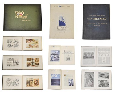 Lot 3045 - P&O Pencillings By W W Lloyd together with The Cunard Turbine-Driven Quadruple-Screw Atlantic Liner