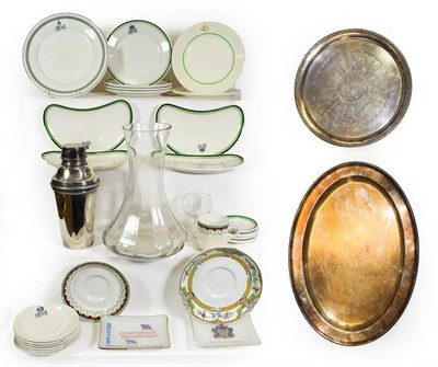 Lot 3046 - Pacific Steam Navigation Company Group Metalware: large oval platter, circular platter and cocktail