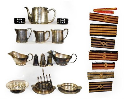 Lot 3049 - Shaw Savill Line Metalware Group teapot, three dishes, two gravy boats, toast rack, three milk...