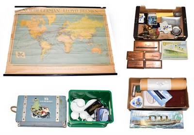Lot 3057 - Shipping Mixed Group including North German Lloyd Bremen map, Cunard engine room log, table mat...