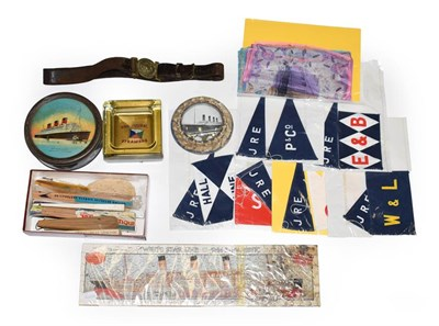Lot 3063 - Shipping Related Items including Red Funnel glass ashtray, Royal Mail Steam Packet belt with...