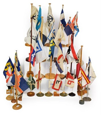 Lot 3064 - Shipping Related Office/Agents Flags mostly on stands (approx 40)