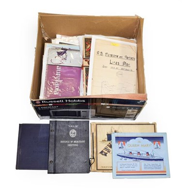 Lot 3071 - Shipping Related Paperwork including The New Cunard Building, Queen Mary 1965 calendar, Log Book of