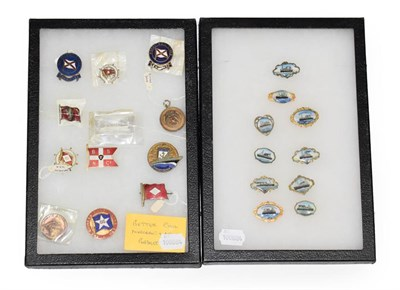 Lot 3077 - Shipping Related Pin Badges including RMS Lauentic, Celtic, Ivernia, Melite, Transylvania,...