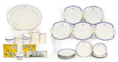 Lot 3080 - Strict Line Ceramics Group large platter, five sandwich plates, seven side plates, five saucers...