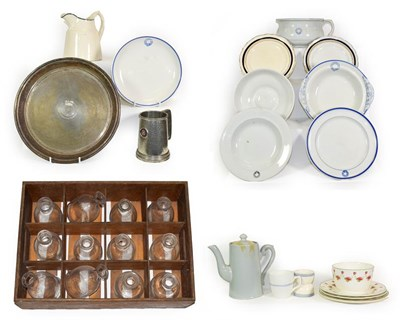 Lot 3083 - Union Castle Line Group twelve glass carafes (with various logos); Ceramics: chamber pot, two...