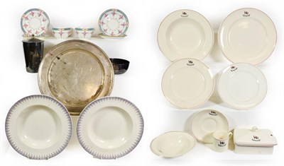 Lot 3086 - Various Shipping Ceramic Group Blue Star Line two cups and four saucers and a metal platter;...