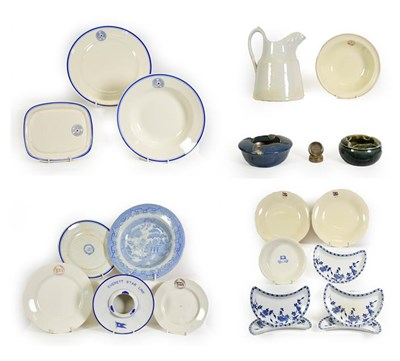 Lot 3088 - Various Shipping Companies Ceramic Group BISN: jug, two ashtrays and a metal place setting...