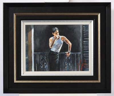 Lot 1017 - Fabian Perez (b.1967) Argentinean ''Cool Breeze and Cigarette'' Signed, watercolour, 28.5cm by 39cm