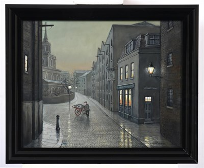 Lot 1039 - Steven Scholes (b.1952) ''The Mayflower, Rotherhithe London 1962'' Signed, inscribed verso, oil...
