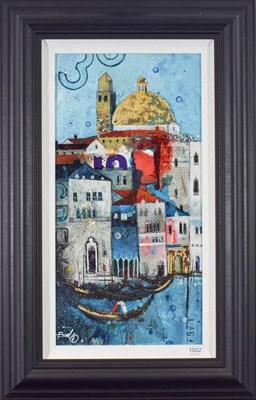 Lot 1002 - Richard Burel (b.1974) French ''Venice Gondolier'' Signed, mixed media on board, 58cm by 29.5cm...