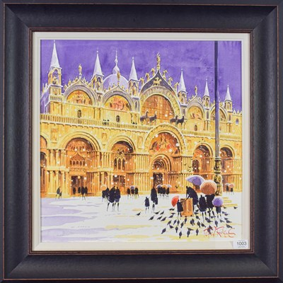 Lot 1003 - Peter J Rodgers (Contemporary) ''Snow at St Mark's, Venice'' Signed, watercolour, 50cm by 50cm...