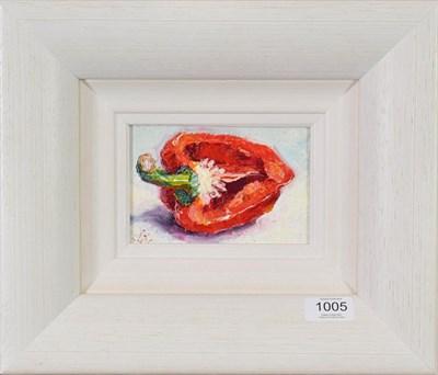 Lot 1005 - Lana Okiro (Contemporary) Ukrainian  ''A Half Red Pepper II'' Signed, oil on board, 9cm by 14cm...