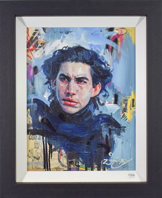 Lot 1006 - Zinsky (Contemporary) ''Kylo Ren'' Signed, oil and mixed media on canvas, 52cm by 39.5cm...