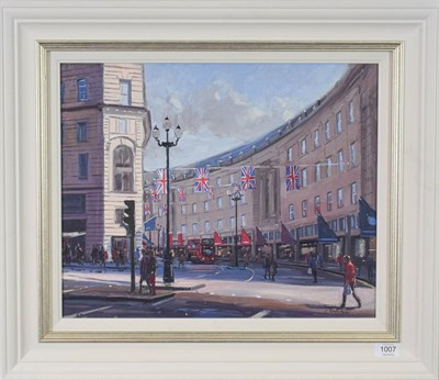 Lot 1007 - Charles Rowbotham (Contemporary) ''Afternoon Shopping, Regent Street'' Signed, oil on board, 39.5cm
