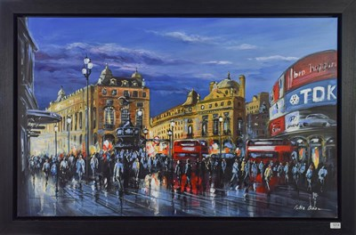 Lot 1014 - Csilla Orban (Contemporary) ''Piccadilly Evening'' Signed, oil on canvas, 76cm by 122cm...