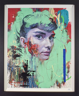 Lot 1015 - Zinsky (Contemporary) ''Miss Hepburn'' Signed, mixed media on canvas, 98cm by 78cm  Artist's Resale
