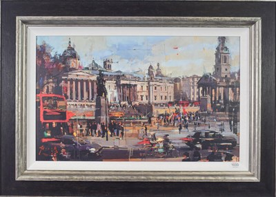 Lot 1033 - Christian Hook (Contemporary) ''Trafalgar Square'' Signed and numbered 64/295, giclee print on...