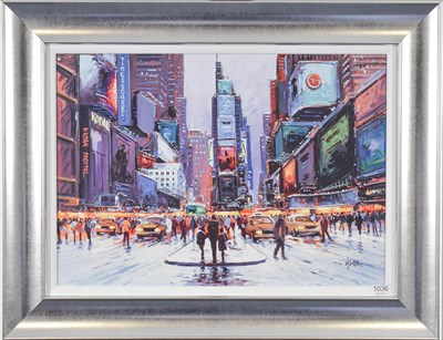 Lot 1036 - Henderson Cisz (Contemporary) ''Times Square at Twilight'' Signed, hand embellished canvas,...