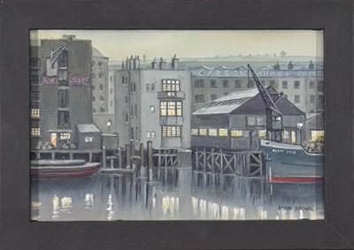 Lot 1038 - Steven Scholes (b.1952) ''Alderman Stairs, Katharine's Dock, London, 1958'' Signed, inscribed...