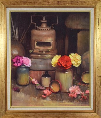 Lot 1041 - Bohuslav Barlow RA (b.1947) ''Lamp and Flowers'' Signed and dated (19)97, oil on canvas, 60cm...