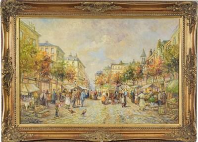 Lot 1043 - MJ Rendall (20th century) Parisian street market scene Signed oil on board, 49.5cm by 75cm...