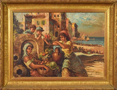 Lot 1044 - Nino Salvadori (b.1918-) The Children of Naples Signed, oil on canvas, 50cm by 70cm  Artist's...