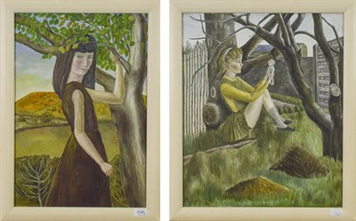 Lot 1045 - Frances Farrer (Contemporary) Girl in the Garden Signed inscribed and dated May 1967, oil on...