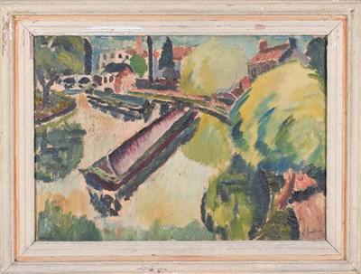 Lot 1047 - Rowland Suddaby (1912-1972) Canal boat  Signed and dated (19)45, oil on canvas, 45.5cm by...