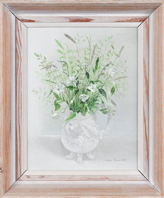 Lot 1053 - Audrey Johnson (1918-2010)  ''Grasses in a White Jug'' Signed and dated 1970, bears artist's...