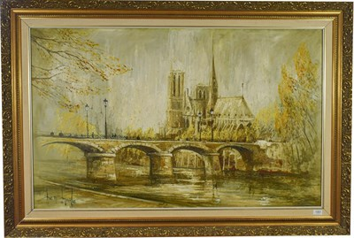 Lot 1061 - Ben Maile (b.1922) Notre Dame from the Seine Signed, oil on canvas, 75cm by 120cm  Artist's...