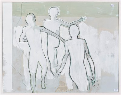 Lot 1062 - K Gowland (Contemporary) Three figures Mixed media, 64cm by 108cm