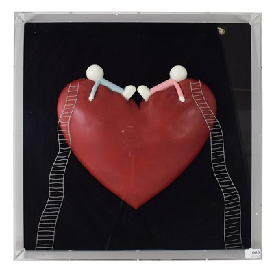 Lot 1069 - Doug Hyde (Contemporary) ''High on Love'' Edition 95/150, mixed media in perspex frame 60cm by 60cm