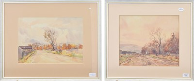 Lot 1081 - Fred Lawson (1888-1968)  Horsecart and figure on a track Signed, pencil and watercolour,...