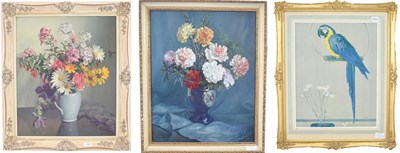 Lot 1092 - Evans (20th century)  Still life of carnations in a blue lustre vase Signed and dated 1964 oil...