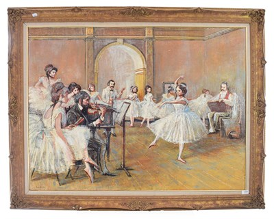 Lot 1096 - Tom Keating (1917-1984) After Degas, dance rehearsal Signed, oil on canvas, 91cm by 122cm...