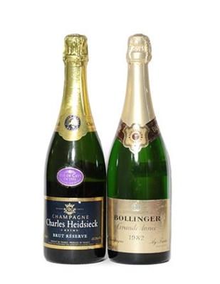 Lot 2001 - Bollinger Grande Annee 1982 (one bottle), Charles Heidsieck Brut Reserve Champagne (one bottle) (2)