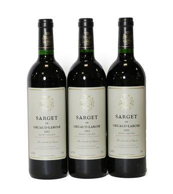 Lot 2041 - Château Gruard-Larose ''Sarget De Gruard-Larose'' 2001, Saint-Julien (three bottles)