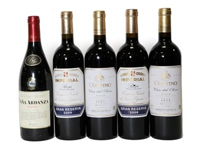Lot 2083 - Imperial Gran Reserva 2008 and 2009 Rioja (two bottles), Contino Vina Del Olivo 2007 and 2010...