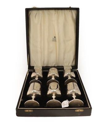 Lot 2 - The Griffin Goblets: A Cased Set of Six Elizabeth II Silver Plate Wine-Goblets, by Garrard and Co.