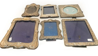Lot 4 - Six Various Victorian and Edward VII Silver Photograph-Frames, variously decorated (a.f.) one...