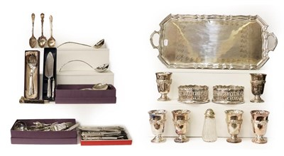 Lot 12 - A collection of assorted silver plate, including: an oblong tray; a set of silver goblets; a...
