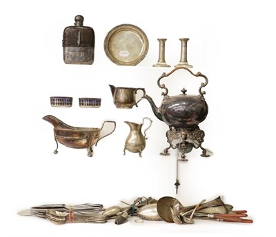 Lot 14 - A Collection of Assorted Silver and Silver Plate, the silver comprising: a helmet-shaped cream-jug