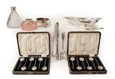 Lot 17 - A Collection of Assorted Silver, including: an oval dish, with pierced sides and crimped border, by