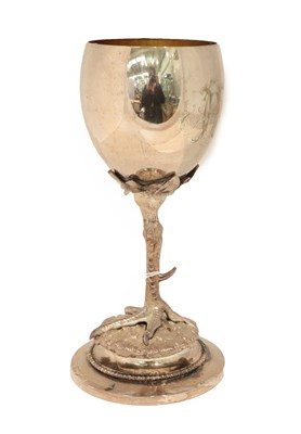 Lot 18 - A Silver Plate Goblet, Apparently Unmarked, Dated 1903, the bowl ovoid, engraved with initials...